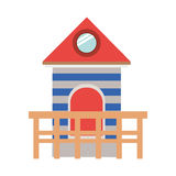 Full color with lifeguard stand tower Royalty Free Stock Image