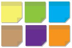 Full color post-it or sticky note. A Post-it note or sticky note is a small piece of paper with a re-adherable strip of glue on its back, made for temporarily Royalty Free Stock Photography