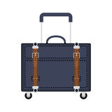 Full color with travel suitcase blue with wheels and handle Royalty Free Stock Photos