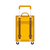 Full color travel suitcase yellow with extension handle and wheels Royalty Free Stock Photos