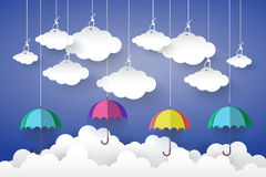 Full color Umbrella with Cloud in Blue sky  Paper art Style.vect Royalty Free Stock Image