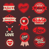 Full color Valentine love labels seals crests Stock Photos