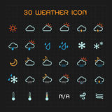 Full color weather icon set Stock Images