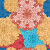 Full-colored seamless pattern for oriental flower print or decoration. Japanese designed motif of mandala. Eastern Royalty Free Stock Images