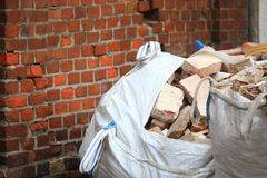 Full construction waste debris bags Stock Photography