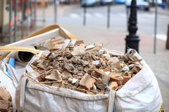 Full construction waste debris bags Stock Images