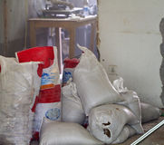 Full construction waste debris bags. Garbage bricks and material from demolished house Stock Photos