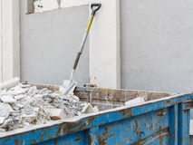 Full construction waste debris container Royalty Free Stock Photos