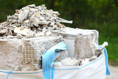 Full construction waste debris rubble bags Royalty Free Stock Photo