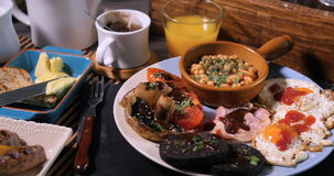 A full cooked English breakfast stock video footage