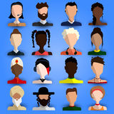 Full Cool and Artistic Avatar Set in Flat Design with Caucasian, Black, Hispanic, Asian, Arab People; Blonde, Brunette, Young, Old Stock Image