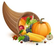 Full cornucopia for Thanksgiving feast day. Rich harvest of pumpkin, apple, corn, grapes, watermelon. Isolated on white vector illustration Royalty Free Stock Images
