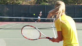 Full court tennis game slow motion stock video footage