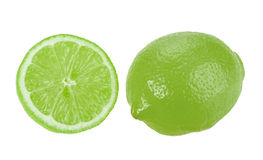Full and cross section of green lime Stock Photos