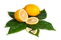 Full and cross section of yellow lemon Royalty Free Stock Image
