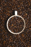 Full cup of coffee beans Royalty Free Stock Photos