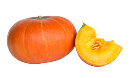 Full and cut pumpkin on white background Royalty Free Stock Photography