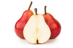 Full and cutted red pear Stock Photo