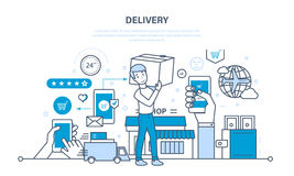 Full cycle of ordering, purchase of goods, delivery, transportation products. Royalty Free Stock Photo