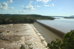 Full Dam. A full dam constructed over the Burdekin river stock image