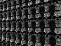 Full dark heavy metal wall of skulls Royalty Free Stock Photos