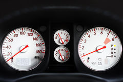 Full Dash of Sport Car. Full dashboard of sport car with backlight Stock Photos