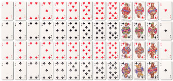 Full deck of cards with shadows Royalty Free Stock Image