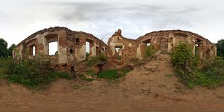 Full 360 degree panorama in equirectangular spherical projection ruined old medieval castle, VR content stock photos