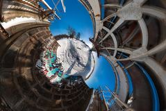 Full 360 by 180 degree Panorama view abandon bridge near river with nice clouds. Full 360 by 180 degree seamless panorama in equirectangular spherical Royalty Free Stock Photos