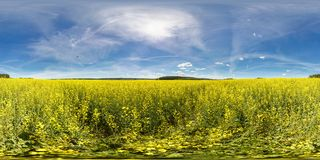Full 360 degree seamless panorama in equirectangular spherical equidistant projection In the form of the Ukrainian flag. Panorama stock photography
