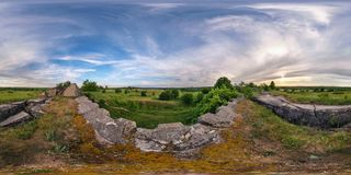 Full 360 degree seamless panorama in equirectangular spherical equidistant projection. Panorama near abandoned fortress of the stock image