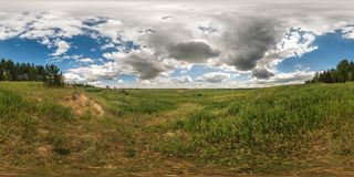 Full 360 degree seamless panorama in equirectangular spherical equidistant projection. Panorama view in a field in beautiful day stock images
