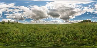 Full 360 degree seamless panorama in equirectangular spherical equidistant projection. Panorama view in a meadow in beautiful day stock photo