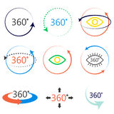 Full 360 degrees angle view icons. 360 degrees full angle view icons. Colorful simple icon set. Virtual panoramic tour signs Royalty Free Stock Photography
