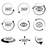 Full 360 degrees angle view icons. 360 degrees full angle view icons. Monochrome simple icon set. Virtual panoramic tour signs Stock Photos