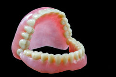 Full denture on black background Royalty Free Stock Image