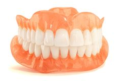 Full denture dentures close-up. Orthopedic dentistry with the us. E of modern technologies to restore teeth loss. The concept of aesthetic dentistry stock photography