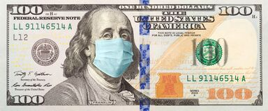 100 Dollar Bill With Concerned Expression Wearing Medical Face Mask
