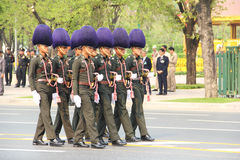 Full-dress procession. An unidentified name Soldier :  The full-dress procession rehearsal for the royal cremation of Her Royal Highness Princess Bejaratana is Royalty Free Stock Photography