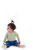 Full dressed baby tied has hair over the head Royalty Free Stock Photography
