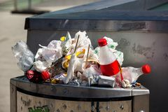 Full dustbin Stock Images