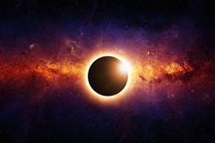 Full eclipse. Abstract scientific background - full sun eclipse, red galaxy in space. Elements of this image furnished by NASA/JPL-Caltech royalty free illustration