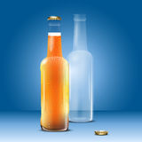 Full and empty beer bottle Stock Images