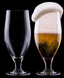 Full and empty glass of light beer Royalty Free Stock Photos