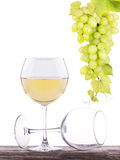 Full and empty glass of white wine isolated Stock Photo