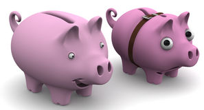 Full and empty piggy bank Royalty Free Stock Images