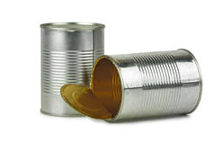 Full and empty tin cans Stock Photo
