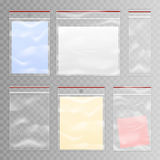 Full And Empty Transparent Plastic Bag Set royalty free illustration