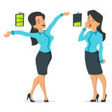Full of energy businesswoman and tired or boring woman. Vector cartoon style illustration of full of energy businesswoman and tired or boring woman. Icon of royalty free illustration