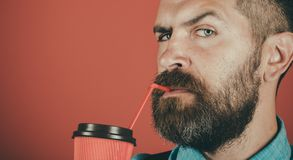 Full of energy. male with beard. mature hipster drink coffee. Good morning coffee. brutal bearded man with take away. Coffee. Enjoying morning coffee. Enjoying stock images